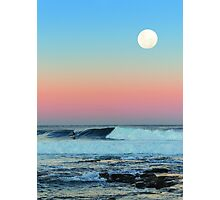 Newcastle Beach Sunset with Full Moon Photographic Print
