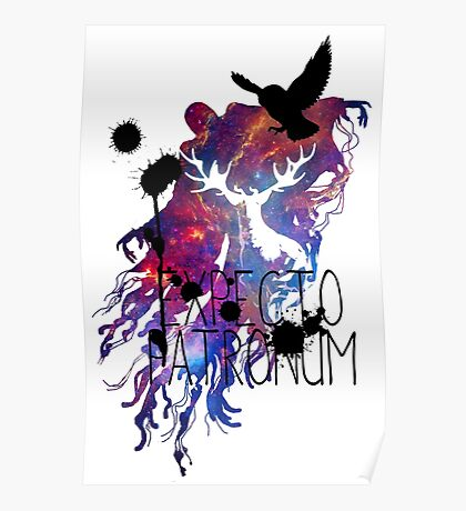 EXPECTO PATRONUM HEDWIG GALAXY Poster