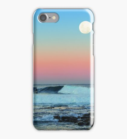 Newcastle Beach Sunset with Full Moon iPhone Case/Skin