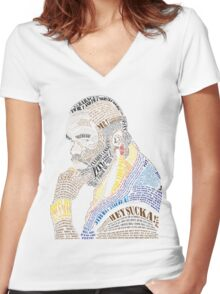 MR. T IN WORDS Women's Fitted V-Neck T-Shirt