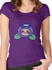 Blueberry Sloth Face Women's Fitted Scoop T-Shirt