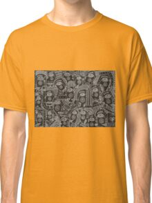 Black and white faces abstraction Classic T-Shirt