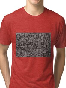 Black and white faces abstraction Tri-blend T-Shirt