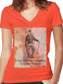 Charlie Says Laugh 3 Women's Fitted V-Neck T-Shirt