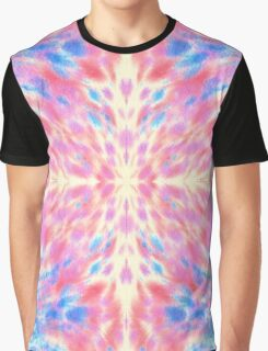 Watercolor Pink Blue Floral Fireworks Pattern Graphic T-Shirt