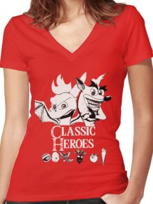 Classic Heroes Women's Fitted V-Neck T-Shirt