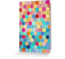 Patterned Honeycomb Patchwork in Jewel Colors Greeting Card