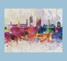 Indianapolis skyline in watercolor background One Piece - Short Sleeve