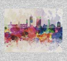 Indianapolis skyline in watercolor background Baby Tee