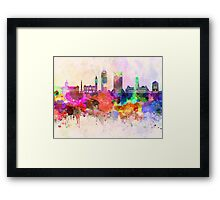 Indianapolis skyline in watercolor background Framed Print