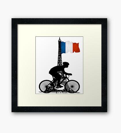 Eiffel Tower France Biking Framed Print
