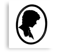 Silhouette Female Antique Black and White Canvas Print