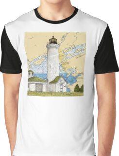 Tibbetts Pt Lighthouse NY Nautical Chart Peek Graphic T-Shirt