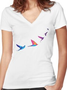 DUSKBIRD Women's Fitted V-Neck T-Shirt
