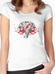 black and white deer skull with horns in graphic Women's Fitted Scoop T-Shirt