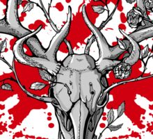 black and white deer skull with horns in graphic Sticker