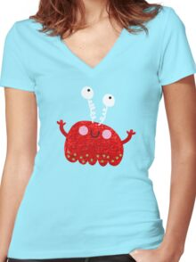 Red jelly monster chick Women's Fitted V-Neck T-Shirt