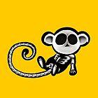 Skeleton monkey yellow bg by Jesarts1993
