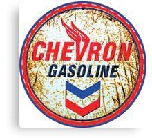 Vintage Chevron Oil and Gas Sign Rusty as heck Canvas Print