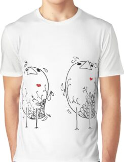 Little Birds with Red Hearts Graphic T-Shirt