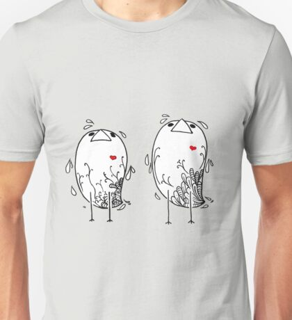Little Birds with Red Hearts Unisex T-Shirt
