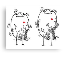 Little Birds with Red Hearts Canvas Print