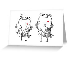 Little Birds with Red Hearts Greeting Card