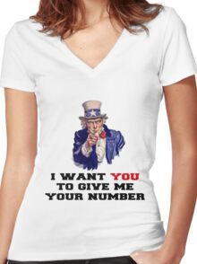 I WANT YOU TO GIVE ME YOUR NUMBER Women's Fitted V-Neck T-Shirt