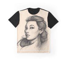 Beautiful Woman Artist Pencil Sketch 1 Graphic T-Shirt