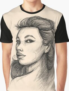 Beautiful Woman Artist Pencil Sketch 1 Graphic T-Shirt