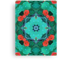 Kapuzinerkresse, Garten, Mandala, Natur, grün, sehr schön, Blumen, Blüte, Sommer, Frühling Canvas Print