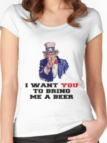 I WANT YOU TO BRING ME A BEER Women's Fitted Scoop T-Shirt