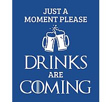 Just a Moment Please, Drinks are Coming in Blue Photographic Print