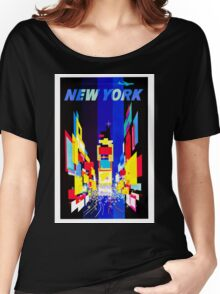New York Vintage Travel Poster Women's Relaxed Fit T-Shirt