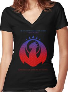 Izzit Dragon Symbol  Women's Fitted V-Neck T-Shirt