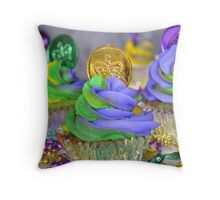 Mardi Gras Cupcake  Throw Pillow