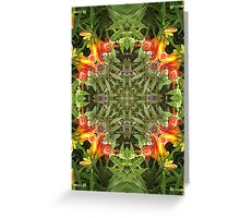 Lily, by nature, garden, mandala, green, beautiful, flowers, summer, spring, colors, pattern Greeting Card