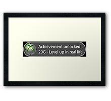 Achievement Unlocked - 20G Level up in real life Framed Print