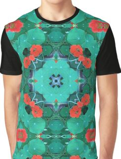 Nasturtium, by nature, garden, mandala, green, beautiful, flowers, summer, spring, colors, pattern Graphic T-Shirt