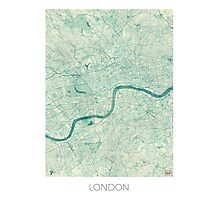 London Map Blue Vintage Photographic Print