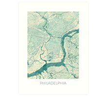 Philadelphia Map Blue Vintage Art Print