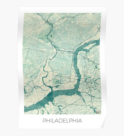 Philadelphia Map Blue Vintage Poster