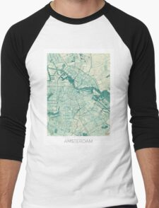 Amsterdam Map Blue Vintage Men's Baseball ¾ T-Shirt