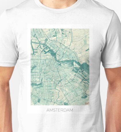Amsterdam Map Blue Vintage Unisex T-Shirt