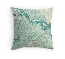 Amsterdam Map Blue Vintage Throw Pillow