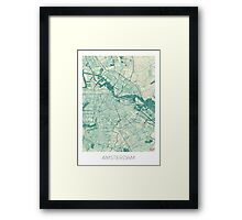 Amsterdam Map Blue Vintage Framed Print