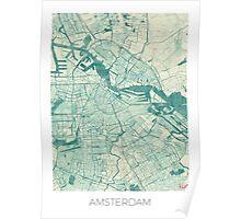 Amsterdam Map Blue Vintage Poster