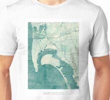 San Diego Map Blue Vintage Unisex T-Shirt