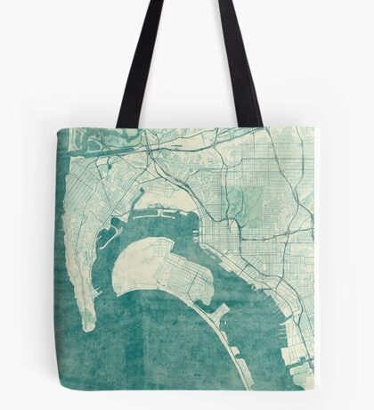 San Diego Map Blue Vintage Tote Bag