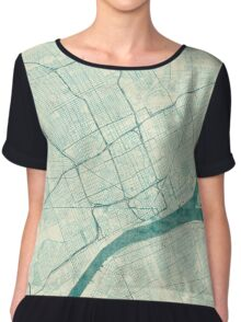 Detroit Map Blue Vintage Chiffon Top